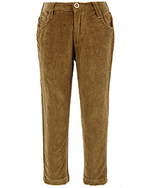 Babyhug Full Length Corduroy Trouser  - Brown