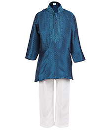 Babyhug Full Sleeves Kurta And Pajama Set Blue And White - Embroidery