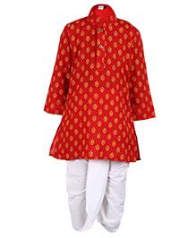 Babyhug Buti Print Kurta And Dhoti Set - Red And White - 3 To 4 Years