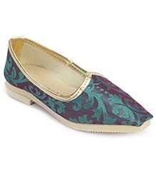Cute Walk Traditional Mojari Shoes - Blue