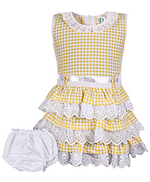 Babyhug Sleeveless Layered Frock With Bloomer - Yellow