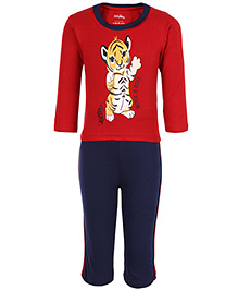 Babyhug Full Sleeves T-Shirt And Legging Baby Tiger Print - Navy And Red