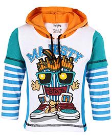 Babyhug Hooded T-Shirt Doctor Sleeves - Sky Blue