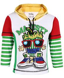 Babyhug Hooded T-Shirt Doctor Sleeves - Green