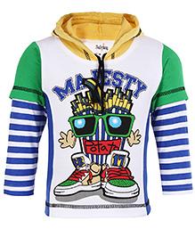 Babyhug Hooded T-Shirt Doctor Sleeves - Royal Blue
