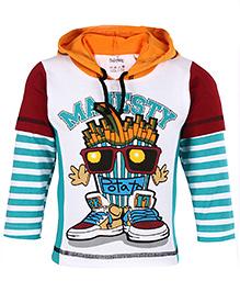 Babyhug Hooded T-Shirt Doctor Sleeves - Aqua