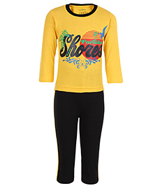 Babyhug Full Length Legging And T-Shirt Set - Yellow And Black