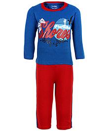 Babyhug Full Length Legging And T-Shirt Set - Blue And Red