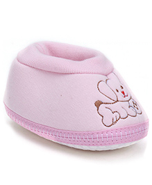 Cute Walk Baby Booties Dog Embroidery - Pink