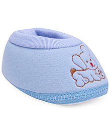 Cute Walk Baby Booties Dog Embroidery - Light Blue