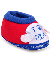 Cute Walk Baby Booties Dog Face Patch - Red