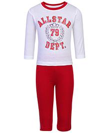 Babyhug Full Sleeves T-Shirt And Leggings Set - Red And White