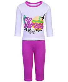 Babyhug Full Length Legging And T-Shirt Set - Purple And White