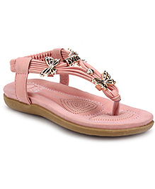 Sweet Year Party Sandals Butterfly Appliques - Pink