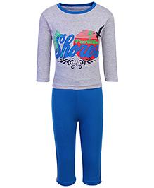 Babyhug Full Length Legging And T-Shirt Set - Blue And Grey