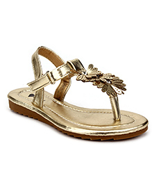 Sweet Year Party Sandals Floral Design - Golden
