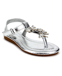 Sweet Year Party Sandals Floral Design - Silver