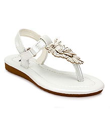 Sweet Year Party Sandals Floral Design - White