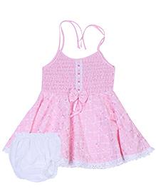 Babyhug Singlet Frock With Bloomer - Pink