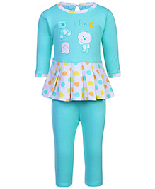 Babyhug Short Frock And Legging Set Teddy And Polka Dots Print - Aqua Blue