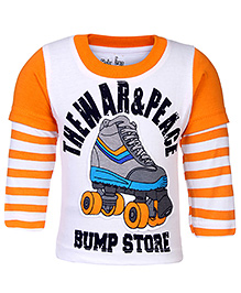 Babyhug Doctor Sleeves T-Shirt Bump Store Print - Orange And White
