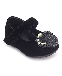 Sweet Year Party Belly Shoes Rosette Detail - Black