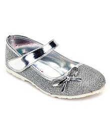 Sweet Year Party Belly Shoes Bow Applique - Silver