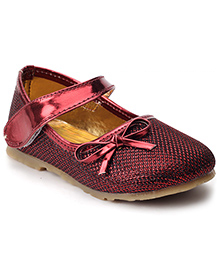 Sweet Year Party Belly Shoes Bow Applique - Red
