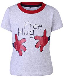 Paaple Half Sleeves T-Shirt Grey - Free Hug Print