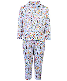 Teddy Full Sleeves Night Suit Crayons Print - Light Blue