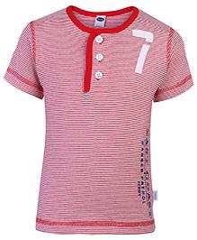 Teddy Half Sleeves T-Shirt Red - Stripes Print