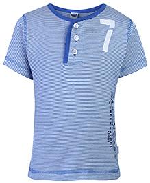 Teddy Half Sleeves T-Shirt Blue - Stripes Print
