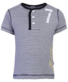 Teddy Half Sleeves T-Shirt Black - Stripes Print