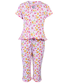 Little Half Sleeves Night Suit Pink - Floral And Butterfly Print