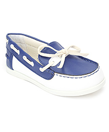 Sweet Year Slip On Loafers With Lace - Navy Blue