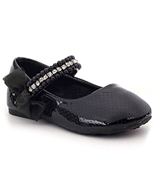 Sweet Year Party Belly Shoes Embellished Design - Black