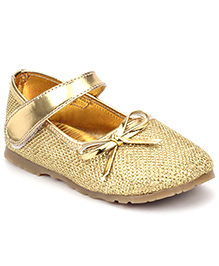 Sweet Year Party Belly Shoes Bow Applique - Golden