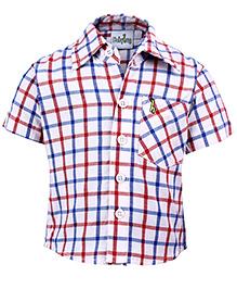 Babyhug Half Sleeves Shirt - Red And Blue Checks Print
