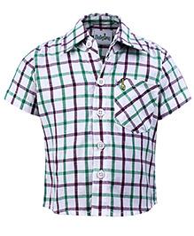 Babyhug Half Sleeves Shirt - Purple And Green Checks Print