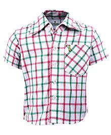 Babyhug Half Sleeves Shirt - Pink And Green Checks Print