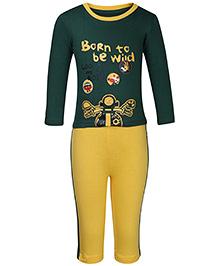 Babyhug T-Shirt And Pants Set Cool Riders Print - Green And Yellow