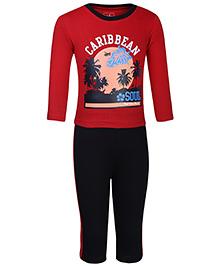 Babyhug Full Sleeves T-Shirt And Leggings Set - Caribbean Print