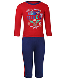Babyhug T-Shirt And Pants Set Highway Rider Print - Red And Blue