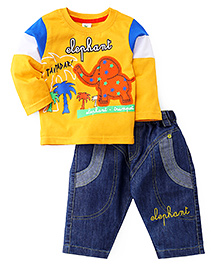 Cucumber Full Sleeves T-Shirt And Jeans - Yellow