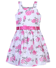 Babyhug Singlet Frock Floral Print - White And Pink