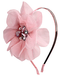 Hopscotch Hair Band Net Flower Motif - Light Pink