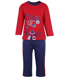 Babyhug T-Shirt And Pants Set Cool Riders Print - Red And Blue