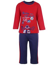 Babyhug T-Shirt And Pants Set Cool Riders Print - Red And Blue