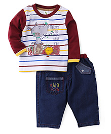 Cucumber Full Sleeves T-Shirt And Jeans Set - Stripes Print - 0 To 3 Months