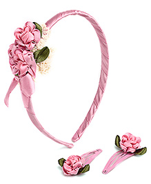 Hopscotch Hair Band With Snap Clips Flower Applique - Pink